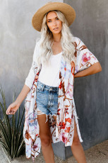 Mehrfarbiger Kimono-Ärmel-Blumendruck Graceful Cover Up