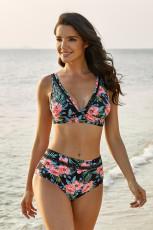 Zwarte bloemenprint V-hals uitgehold bikini met hoge taille
