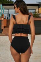Schwarzes Falbala Design Bikini Set