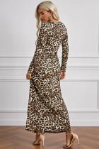 레오파드 포켓 롱 슬리브 맥시 드레스