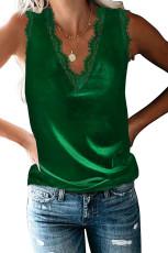 تانك توب بلون أخضر أنيق من الدانتيل بياقة على شكل V