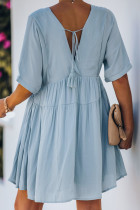 Sky Blue Kimono Sleeve V-neck Babydoll Tiered Mini Dress