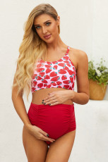 Strappy Hollow-out Back Crop Top High Waist Maternity Swimsuit