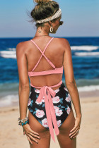 Pink Halter Cross Wrap Floral Print One-piece Swimwear