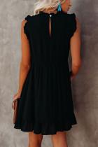 Черное платье бэбидолл с рюшами и карманами