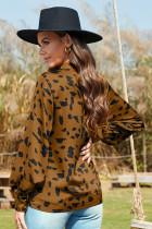 Классическая модная блузка с принтом и воротником-стойкой