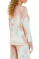 Многоцветный пижамный комплект с глубоким V-образным вырезом и заниженными плечами с принтом тай-дай