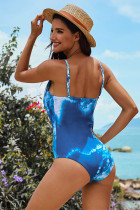 Blue Criss Cross Tie-dyed One-Piece Swimsuit
