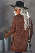Brown Turtleneck Fledermausärmel Seitenschlitz Tunika Top