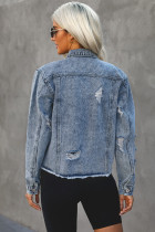 Sky Blue Buttons Collar Turn Down Jacket Denim Cut-Out