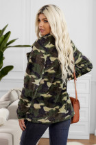 Green Colo Camo Lapel Collar Front Front Fleece Coat