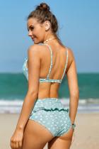 Hemelsblauwe hoge taille bikini met fruitprint en ruches