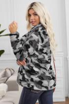 Harmaa Camo-käänne kaulus avoin edessä fleece takki