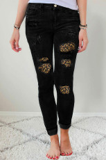 Ripped Leopard Patch Pocket Skinny Jeans Pinggang Tinggi