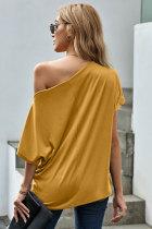 Kuning Off-The-Shoulder Slash Neck Atasan Longgar Kasual