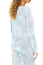 ชุดเลานจ์มัดย้อมไหล่ตกคอวีลึกสีน้ำเงิน