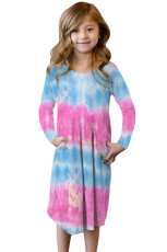 Pink Tie Dye Swing Dress med skjulte lommer