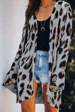 Graue leichte Strickjacke aus Leopard