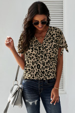 Twist Top Leopard V Neck
