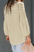 Βερίκοκο με στρογγυλεμένο λαιμόκομμα δαντέλα με κοίλο μανίκι πουκάμισο Polka Dot μπλούζα