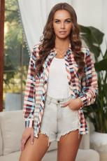 Meerkleurig geruite overhemd met lange mouwen en zak