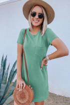 Зеленое повседневное мини-платье с круглым вырезом и короткими рукавами с карманами