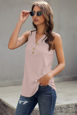 Pink Just Say The Word 3 Button Tank Top
