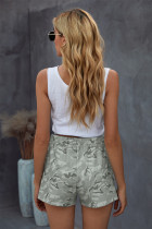 Gray Camouflage Drawstring Casual Shorts