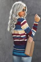 Top rayé bleu en tricot tie-dye à manches longues