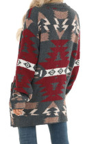Gray Moraga Pocketed Aztec Cardigan