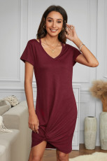 Wine Clear Skies Jersey Twist T-Shirt Dress