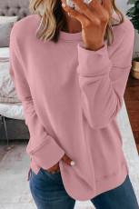 Rosa långärmad tröja med rund hals
