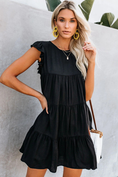 Black Pocket Tiered Ruffled Mini Dress