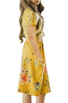 Yellow Short Sleeve Pocketed Children's Floral Dress