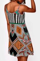 Multicolor spaghettibandjes Boho mini-jurk