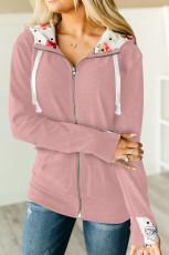معطف هودي وردي كامل بسحاب مع غطاء للرأس من الداخل بطبعة زهور