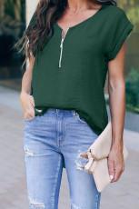 Grüne Reißverschluss-Bluse