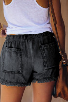 Black Casual Pocketed Frayed Denim Shorts