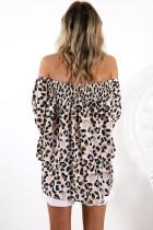 Leopard Off Shoulder Flared Sleeve Top