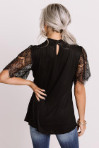 Black Breaking News Lace Top