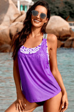 Lila bedruckter Spleiß-Racerback-Tankini