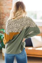 Green Leopard Color Block Spleißen Langarm Top