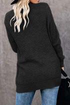 Schwarze einfarbige Strickjacke mit Taschenstrick