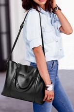 حقيبة يد سوداء متعددة الوظائف من البولي يوريثان