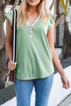 T-shirt vert à manches courtes et col en V boutonné avec bordure en dentelle