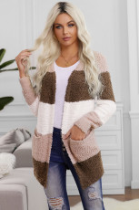 Brown Colorblock Popcorn Knit Cardigan