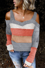 Grå Trim Colorblock Stripes Cold Shoulder Ihålig tröja