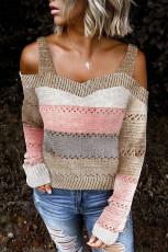 Multicolor Trim Colorblock Streifen Cold Shoulder Hollow-Out Sweater