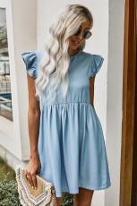 Свободное джинсовое повседневное платье с рукавами Flutter