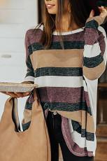 Top tipo túnica de rayas de colores con cuello redondo